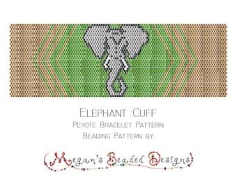 Elephant Bracelet Pattern - Peyote Pattern - Bracelet Pattern - Beading Pattern - Bead Pattern - Printable Pattern - PDF - Cuff Bracelet