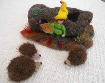 Hedgehogs in log, gnome and hedgehogs, hollow log, three hedgehogs, Waldorf, play mat, play scape,  needle felted, tree house, kindergarten