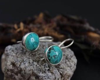 Turquoise earrings.Gemstone Earrings.Natural Turquoise.Birthstone Earrings.Boho Earrings.Boho Style.Hippie.Gypsy.Vintage.Modern.Gift for Her