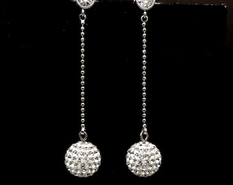 bridal earrings wedding jewelry bridesmaid gift swarovski clear white 10mm rhinestone pave ball rhodium round cz post dangle earrings