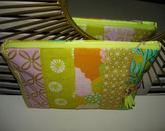 Adorable patchwork quilt 25 x 17 cm, made pouch
