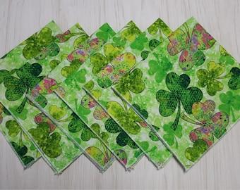 St Patricks Day Irish Cloth Napkins Shamrocks Green Pink Purple Lunch Dinner Set of 6