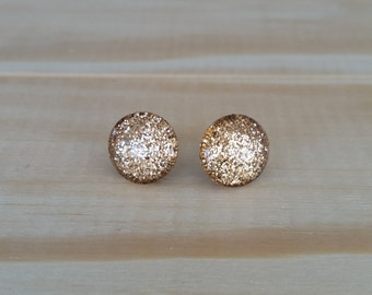 Smoky Quartz Glitter Earrings, Titanium Posts, Glitter Studs, Gift Idea, Hypoallergenic Studs, Bridesmaid Gift, Super Sparkly Studs