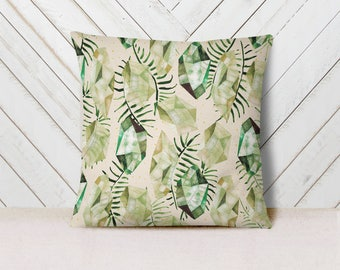 Boho Crystals Cotton Twill Pillow - watercolor natural pattern of green tropical leaves and emeralds for home decor or housewarming gift