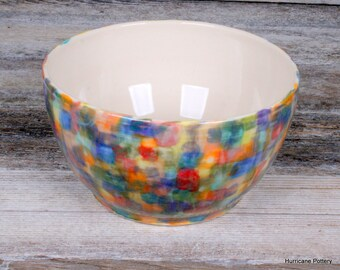 Multi-colored Bowl. Hand Thrown Porcelain Pottery Bowl. Ceramic Kitchen Bowl. Serving Bowl. Salad Bowl