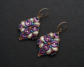 Colorful Beadwork Earrings, Bollywood Style Earrings, Purple Mint Earrings, Luxurious Earrings, Boho Chic Dangles, Purple Wedding Earrings