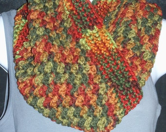 Textured Crochet Cowl - Multi Color Cowl - Autumn Leaves
