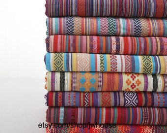 Various Width and Weight, Nepal Style Colorful Jacquard Striped Pattern Gallery Cotton Fabric, Half Yard