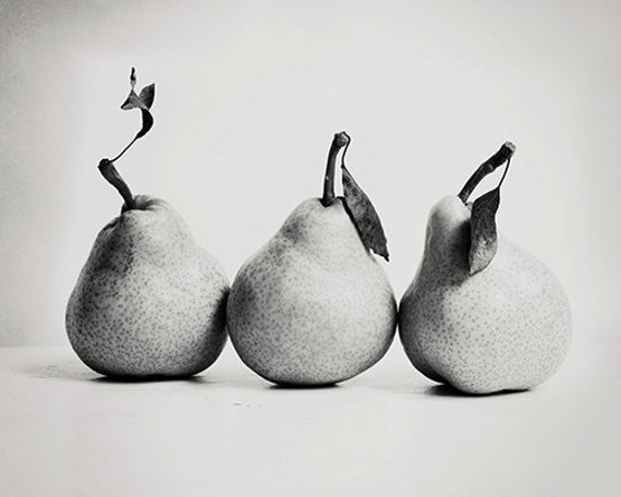 Kitchen wall art fruit photograph pear trio 8x10 fine art