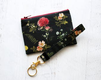Botany gift set - floral key fob - pressed flowers bag - black key chain - small zipper pouch - key wristlet - pouch set
