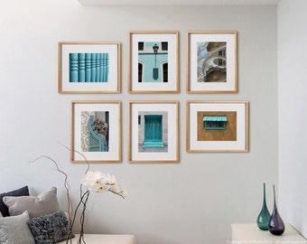 Aqua 6 Mix Print Collection.  Architectural photography, light blue decor, urban details, wall art, artwork, large format photo.