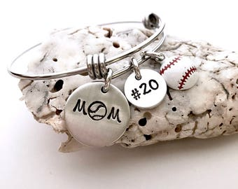 Baseball mom bracelet-custom sports bracelet- adjustable bracelet- Mother's Day gift- mom jewelry- baseball jewelry- team mom gift- mom gift