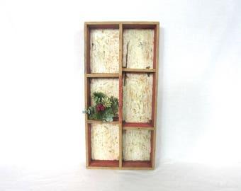 Vintage Tote / Red Handmade Wood Box / Divided Storage / Planter / Shelf / Primitive Farmhouse Decor