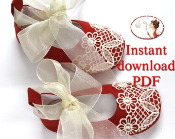 Sewing Pattern for Christmas Baby Shoes - PDF-newborn to 24 months