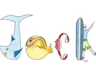 Original Watercolor Name Painting, Personalized Nursery Wall Decor, Name Art Illustration, Jack, Josh, shark, Sea Life, Surfing, Animals