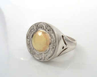 Medieval Ring - partly oxidized silver and gold ring