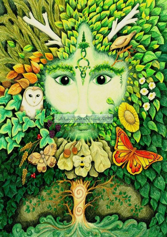 Green man blank greetings card pagan art birthday yule m4hsunfo