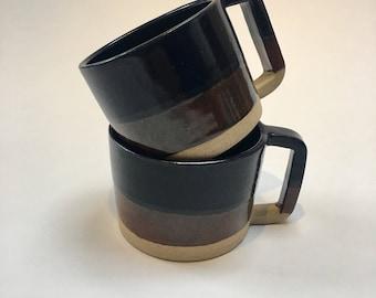 Handmade tea/coffee two tone cup/mug. Thrown on a potters wheel.