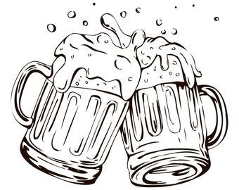 Beer mug SVG, Beer SVG, Beer mug,Mugs, Beer, Mug silhouette,Set of two,Alcohol,Mug,Vector,Glass,Silhouette,SVG,Graphics,Illustration,Logo