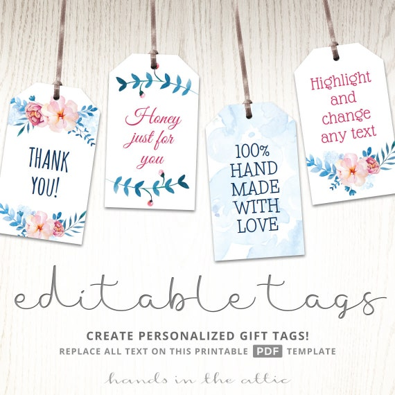 Printable floral gift tags party favors editable labels baby printable floral gift tags party favors editable labels baby shower favor tags bridal shower gift labels name tags digital download pdf negle Image collections