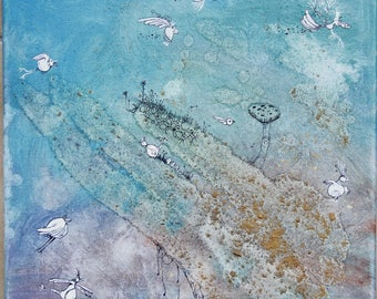Table; Birds everywhere - little birdy - watercolor, ink and acrylic.