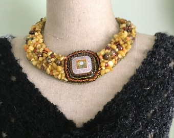 Yellow Nuggets with Czech Button-Bead Embtoidered Necklace