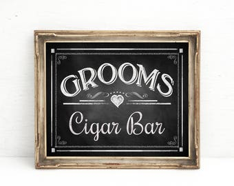 GROOMS CIGAR BAR | Printable Wedding chalkboard sign, Wedding Sign, Cigar Sign, Chalkboard Wedding Signs, Instant Download Digital File