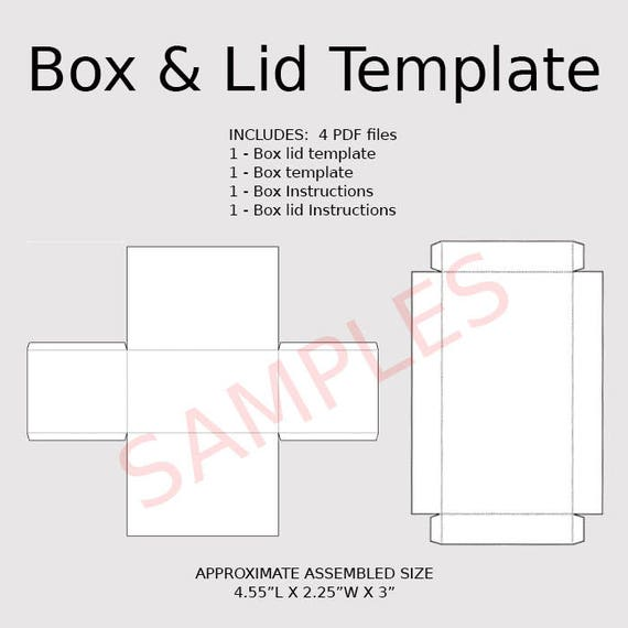 Digital Rectangle Box  Lid Templates Instant Download Pdf
