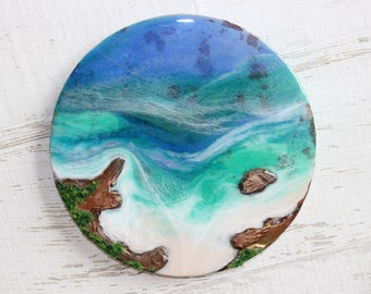 """Tropical Island Resin Painting with 3D Rocks and Greenery - 10"""" Round"""