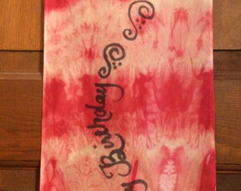 Red and White Tie Dye Silk Happy Birthday scarf