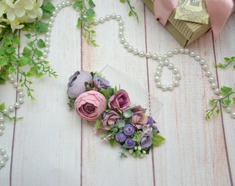 Gift-for-girlfriend Wedding hair accessory Dusty purple flower comb Dusty pink bridal hair comb wedding Flower headpiece Wedding hair piece