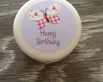Vegan Lip Balm personalised Happy birthday butterfly