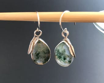 Green Moss Agate Earrings, Handcrafted Sterling Silver Stone Earrings, Artisan Silversmith Bezel Set Earrings, Leaf and Pear Dangle Earrings