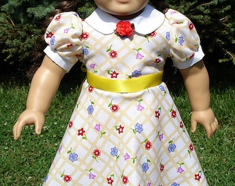1940's Style Yellow Checked Dress made to fit 18 inch dolls