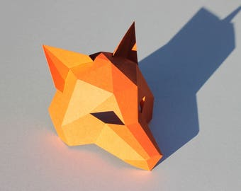 New Year fox mask - PDF Instant_Download - half head mask / DIY