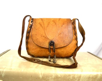 Vintage 1970s 70s Tooled Leather Purse Bag Handbag