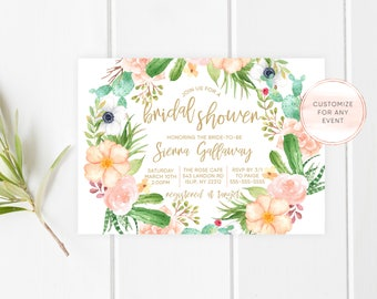 Bridal Shower Invitation, Bridal Shower Invitation Floral, Bridal Shower Invitation Printable, Succulent Bridal Shower Invitation [698]