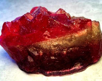 Ruby Red Geode Crystal Gemstone Rock Soap - Pomegranate Scented - FREE U.S. SHIPPING - Birthstone Gift - Mom, Wife, Daughter - Rock Hound