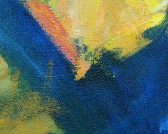 Wall in Umbria ABSTRACT PAINTING 14 x 10 Italy street blue yellow