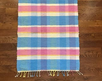 Handwoven Happy Plaid Rag Rug / Handwoven Rag Rug