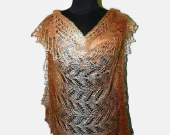 Natural wool shawl, lace shawl, Knit stole, wool scarf, knitted wrap, Knitted scarf, long knit scarf, women's knit scarf, warm scarf