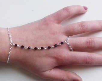 Black Crystal Slave Bracelet , Gothic Slave Bracelet , Slave Chain , Gothic Bracelet , Black Bracelet , Handmade Jewelry , Handmade Gift