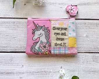 Unicorn zipper pouch, zippered wallet, coin pouch, inspirational pouch, unicorn patchwork pouch, eco friendly
