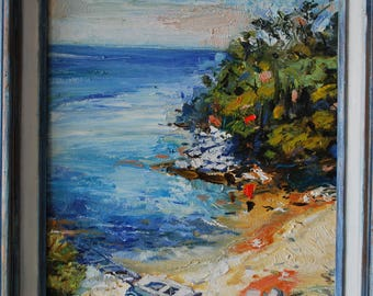 Original oil painting on canvas''Seascape in Greece''-11''x14''canvas //framed/original artwork signed by the artist