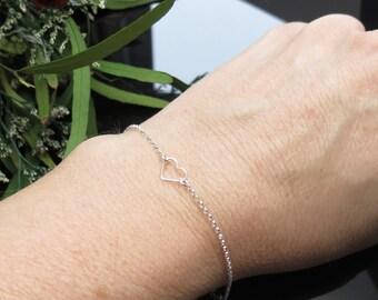 Open Heart Bracelet, Floating Heart Bracelet, Sterling Silver Heart Bracelet, Delicate Heart Bracelet, Bridesmaids Gift, Something simple