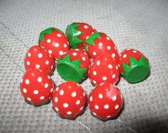 set of eight strawberries acrylic charms 16x22mm