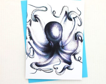 Blue Octopus 5x7 Card / Beach Wall Decor - Frameable Greeting Card Makes a Lovely Gift