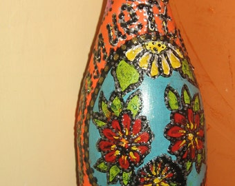 Hand painted bottle day of the dead # 28
