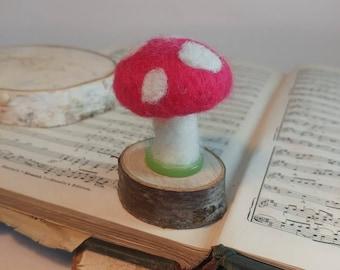 Tiny Toadstool - Needle Felt Ornament - Felt Toadstool