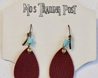 Red Teardrop Leaf Leather Earrings